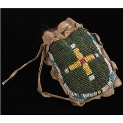 Early Crow Beaded Tobacco Bag Circa 19th Century