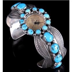 Signed Navajo Turquoise & Engraved Sterling Watch