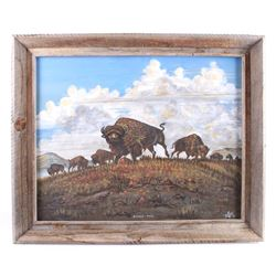 Original Signed Buffalo Range Oil/Canvas Painting