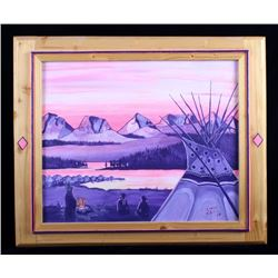 Original Gordon Arute Oil on Canvas Teepee Scene
