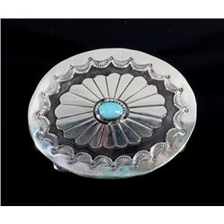 Western Sterling Silver and Turquoise Belt Buckle
