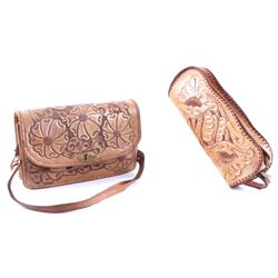 Clifton Hand Tooled Leather Purse and Hand Bag