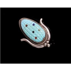 Signed Zuni Turquoise Maize Pin and Broach