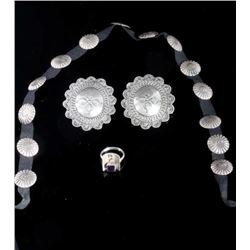 Sterling Silver Concho Hat band, Earrings and Ring
