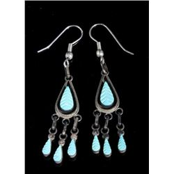 Vintage Hand Carved Feather Turquoise Earrings