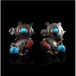 Navajo Turquoise Coral and Sterling Earrings