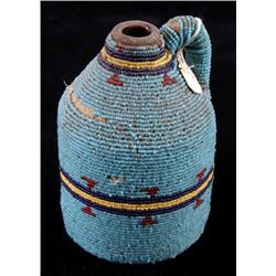 Sioux Native American Fully Beaded Polychrome Jar