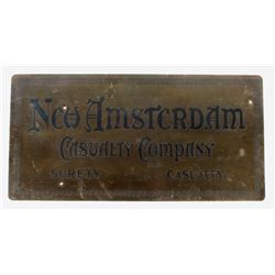New Amsterdam Casualty Co. Brass Sign
