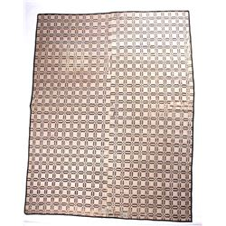 Antique Tan and Black Coverlet
