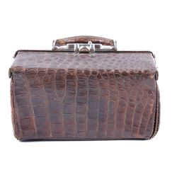 Early 1900's Brown Alligator Leather Doctor's Bag