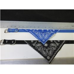 2 New Dog Collar with Bandana / 1 black 1 blue for med - large dogs