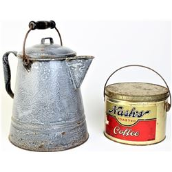 Collection of 2 includes Nash's Coffee tin