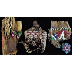 Collection of relic Plains Indian beaded bags