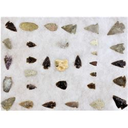 Collection of Northern Plains stone arrowheads.
