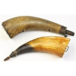 Collection of 2 antique powder horns,