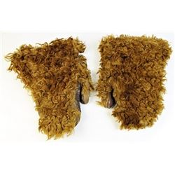 Hair on frontier mittens with leather palms
