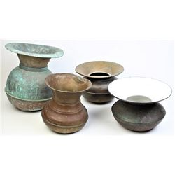 Collection of 4 spittoons, earliest in cast iron