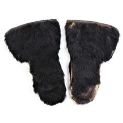 Frontier horse hair mitten with leather palms,