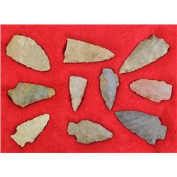Collection of 10 stone arrowheads and points.