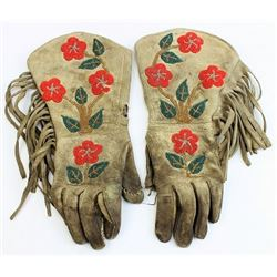 Early ladies beaded gauntlets in fair condition