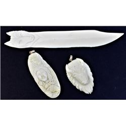 Collection of 3 carved bone ivory items includes