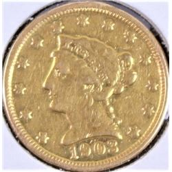 1903 $2 1/2 dollar gold coin.