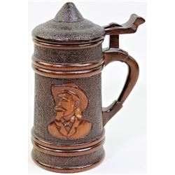 Interesting carved wooden lidded beer stein