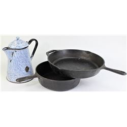 Collection of 3 cowboy cooking ware items includes