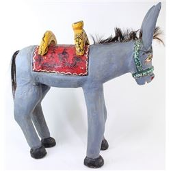 Wooden folk art hand painted Mexican burro