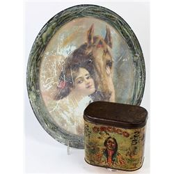 Collection of 2 includes Orcico Cigar tin
