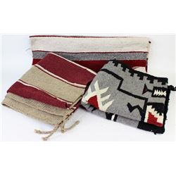 3 Navajo style Mexican woven saddle blankets