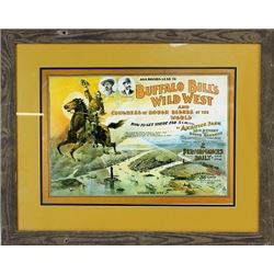 Large framed Buffalo Bill's Wild West lithograph