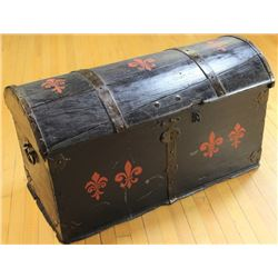 Large dome top emigrant wooden trunk