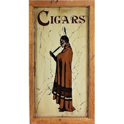 """Reverse painted on glass """"Cigars"""" sign"""