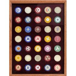 Collection of 35 original and various clay poker