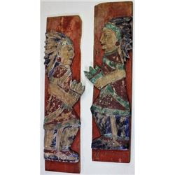 Pair wood carved cigar store style Indian