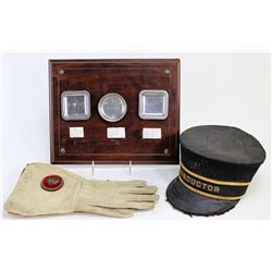 Collection of 3 includes train conductors hat