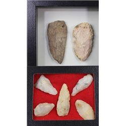 Collection of 7 stone Plains artifacts.