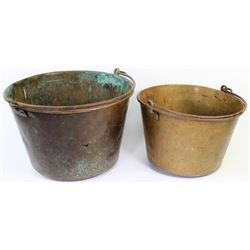 Collection of 2 brass trade pails,