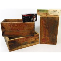 Collection of 6 includes 3 wood ammo boxes,