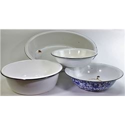 Collection of 4 enamel wash pans