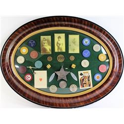 Nicely framed gambling collection of poker chips