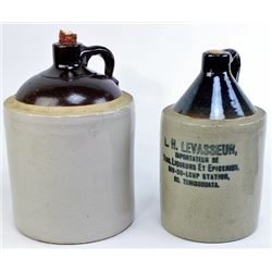 Collection of 2 stoneware whiskey jugs