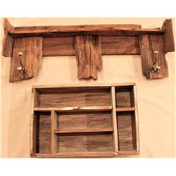 Collection of 2 includes rustic wooden coat
