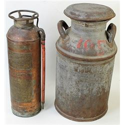 Collection of 2 includes brass fire extinguisher