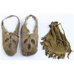 Collection of 2 childs be3aded moccasins