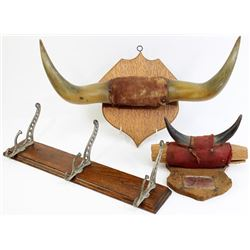 Collection of 3 includes early horn hat rack