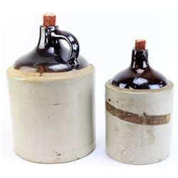 Collection of stoneware whiskey jugs