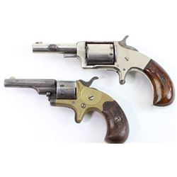Collection of 2 antique spur trigger revolvers