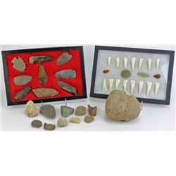 Collection of stone artifacts and drilled